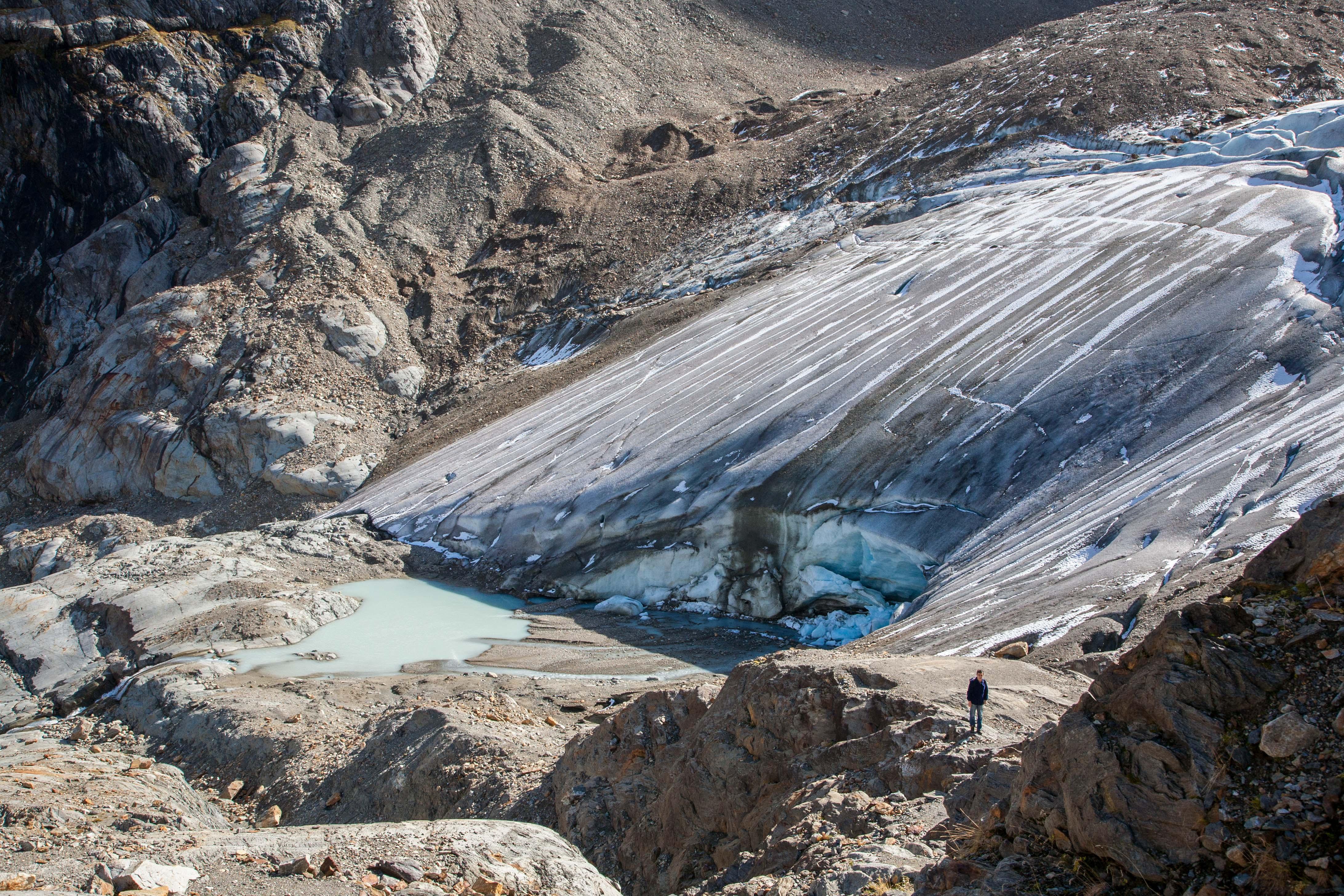 Wspinam się do czoła lodowca Steingletscher